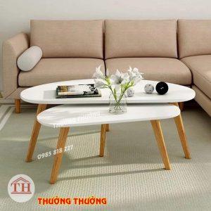 Bàn trà sofa chân gỗ màu trắng