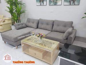 Bộ sofa góc chữ L ghi xám