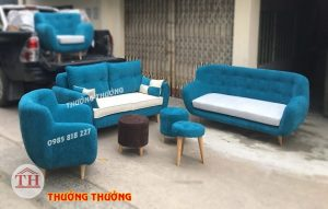 Bộ sofa nỉ xanh dương