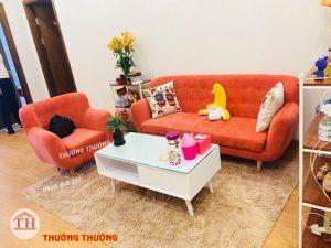Ghế sofa văng nỉ vàng cam